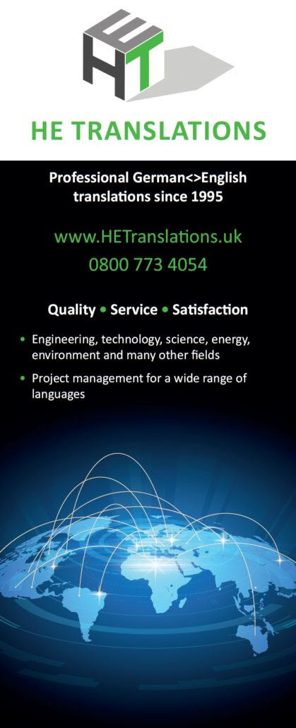 HE German Technical Translations roll-up banner; quality, service, satisfaction