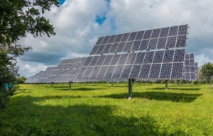 Photovoltaic solar panel array installed in field