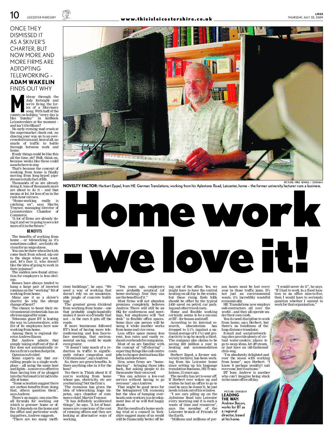 Leicster Mercury teleworking article