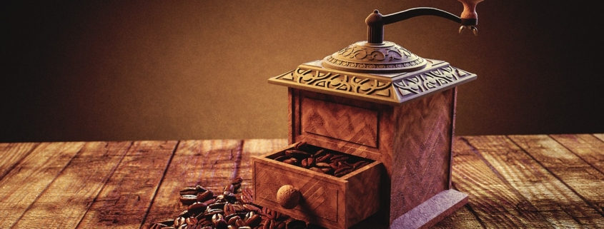 manual coffee grinder and coffee beans