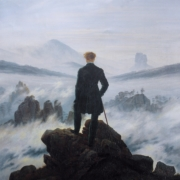Painting of mountain walker by Caspar David Friedrich