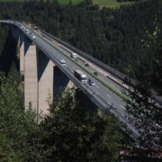 Autobahn bridge and traffic