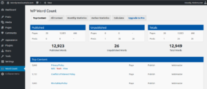 Wordpress wordcount in Dashboard