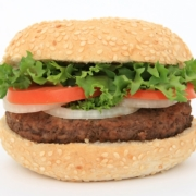 burger on a bun with lettuce tomato and onion