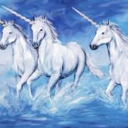 Three unicorns running