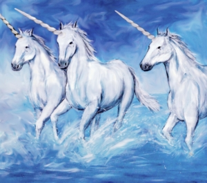Three unicorns running