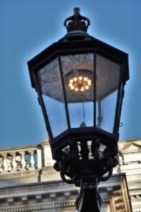 Gas lamp mantle in streetlight