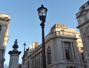 Welbach gas lamps in London street