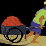 labourer hauling load of bricks